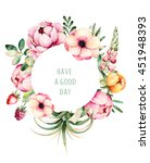 beautiful watercolor round... | Shutterstock . vector #451948393