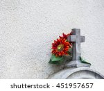 Stone Cross With A Flower