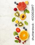 various berries and fruits on... | Shutterstock . vector #452002897