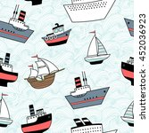 seamless pattern with ships and ... | Shutterstock .eps vector #452036923