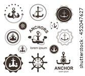 set of vintage retro nautical... | Shutterstock .eps vector #452047627