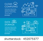 line art web banner for cloud... | Shutterstock .eps vector #452075377