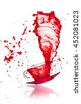 drink red splash out of glass...   Shutterstock . vector #452081023
