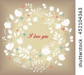 white floral ring. i love you... | Shutterstock . vector #452104363