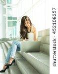 beautiful asian businesswoman...   Shutterstock . vector #452108257