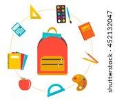 backpack with flying school... | Shutterstock .eps vector #452132047