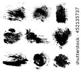 raster set of black inc blots... | Shutterstock . vector #452135737