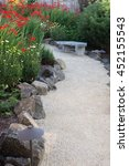 a curved garden path edged with ... | Shutterstock . vector #452155543