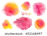 pink and yellow watercolor... | Shutterstock .eps vector #452168497