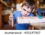 child does handicraft. boy...   Shutterstock . vector #452197507
