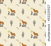 Cactus Coyote Vector Pattern