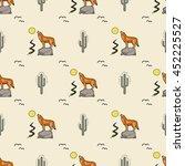 cactus coyote vector pattern | Shutterstock .eps vector #452225527