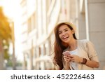 happy young asian woman with... | Shutterstock . vector #452226463
