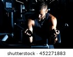handsome man with big muscles ... | Shutterstock . vector #452271883