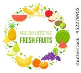 set of colorful fruits in... | Shutterstock .eps vector #452278903