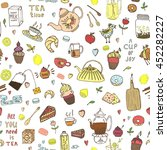 seamless tea time color pattern.... | Shutterstock .eps vector #452282227