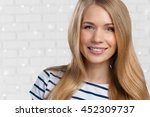 beautiful woman smiling | Shutterstock . vector #452309737