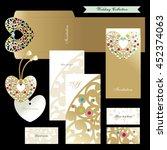 wedding set. golden heart.... | Shutterstock .eps vector #452374063