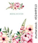 beautiful watercolor card with... | Shutterstock . vector #452449513