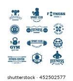 set of monochrome gym fitness... | Shutterstock .eps vector #452502577