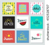 set of 9 summer cards with... | Shutterstock .eps vector #452528707