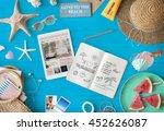 digital tablet travel packing... | Shutterstock . vector #452626087