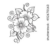 abstract hand drawn flowers ...   Shutterstock .eps vector #452670163