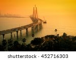 Small photo of The Bandra-Worli Sea Link, also called Rajiv Gandhi Sea Link at dusk. It is a cable-stayed vehicular bridge that links Bandra in the northern suburb of Mumbai with Worli in South Mumbai.