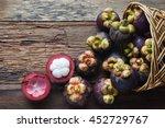 Mangosteen Fruit On Wood Table...
