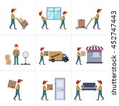 delivery person freight... | Shutterstock . vector #452747443