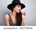 happy toothy laughing female... | Shutterstock . vector #452778943