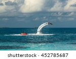 silhouette of a fly board rider ... | Shutterstock . vector #452785687