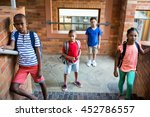 high angle view of classmates...   Shutterstock . vector #452786557