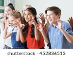 group of children enjoying... | Shutterstock . vector #452836513