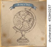 antique globe hand drawn sketch ... | Shutterstock .eps vector #452843257