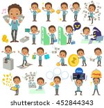 set of various poses of black...   Shutterstock .eps vector #452844343