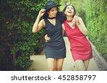 best friends taking a walk...   Shutterstock . vector #452858797