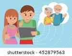 family vector illustration flat ... | Shutterstock .eps vector #452879563