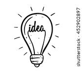 doodle light bulb with idea... | Shutterstock .eps vector #452902897