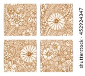 set of floral card. hand drawn... | Shutterstock .eps vector #452924347