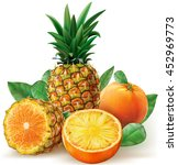 composition fruits of pineapple ... | Shutterstock .eps vector #452969773