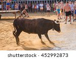 bull being teased by brave... | Shutterstock . vector #452992873