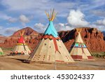 indian tents decorated with... | Shutterstock . vector #453024337