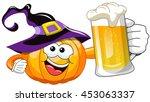 cartoon halloween pumpkin... | Shutterstock .eps vector #453063337