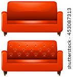 sofa with red leather... | Shutterstock .eps vector #453087313