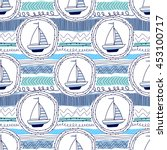 seamless pattern with a sailing ... | Shutterstock .eps vector #453100717