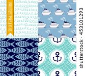 set of 4 seamless patterns with ... | Shutterstock .eps vector #453101293