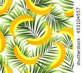 seamless pattern with tropical  ... | Shutterstock .eps vector #453104557