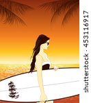 surfer girl with surfboard at... | Shutterstock .eps vector #453116917