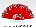 open vintage folding red fan... | Shutterstock .eps vector #453131143
